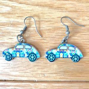 NEW Groovy Print Herbie Car VW Bug Earrings